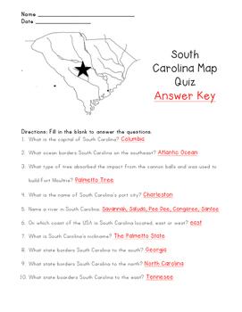 South Carolina Map Quiz with Answer Key