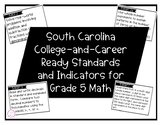 South Carolina Math Academic Standards Grade 5 | Standards Cards