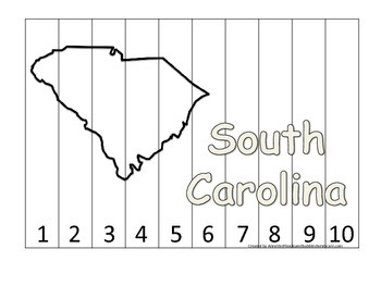 South Carolina Number Sequence Puzzle.  Learn the States preschool printable gam