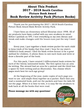 South Carolina Picture Book Award 2017 - 2018 Book Review Activity Pack