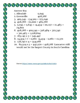 South Carolina Data Analysis Math Word Problems on the Pop. of South Carolina
