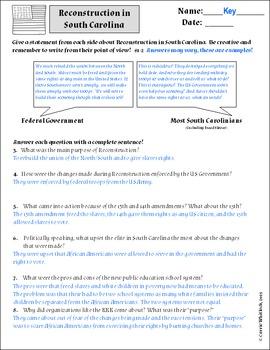 South Carolina - Reconstruction Assessments & Vocabulary 3-4.6