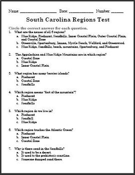 South Carolina Regions Unit Test - PDF and Editable