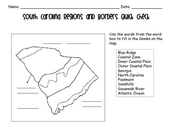 South Carolina Regions and Borders Presentation, Study Guide, and Quiz Pack