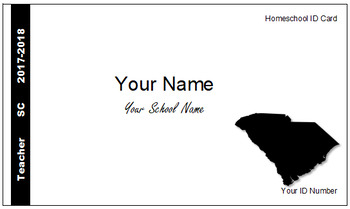 South Carolina (SC) Homeschool ID Cards for Teachers and Students