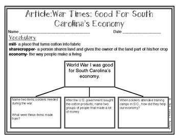 South Carolina Social Studies Weekly: Week 17 The Great War