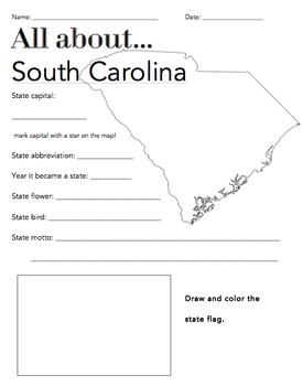 South Carolina State Facts Worksheet: Elementary Version