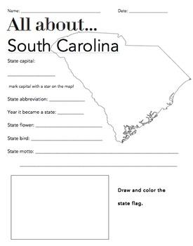 South Carolina State Facts Worksheet: Elementary Version