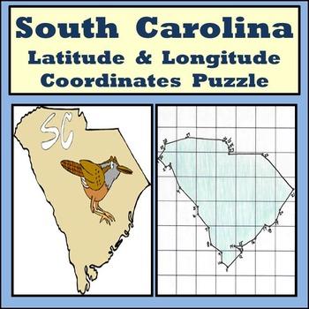 South Carolina State Latitude and Longitude Coordinates Puzzle - 30 Pts. to Plot