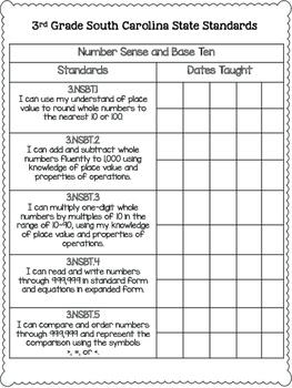 South Carolina State Standards Checklist SCCCR {3rd Grade}