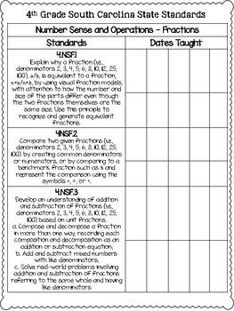 South Carolina State Standards Checklist SCCCR {4th Grade}