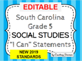 South Carolina State Standards I Can Statements - 5th Grad