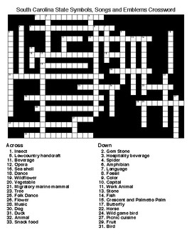 South Carolina State Symbols, Songs and Emblems Word Search & Crossword Puzzles