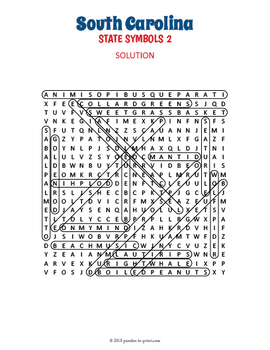 South Carolina State Symbols Word Search Puzzles