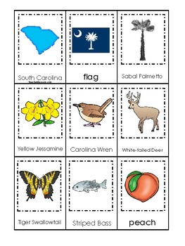 South Carolina State Symbols themed 3 Part Matching Preschool Literacy Card Game