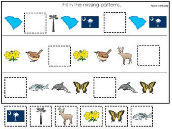 South Carolina State Symbols themed Fill In the Missing Pattern Preschool  Game.