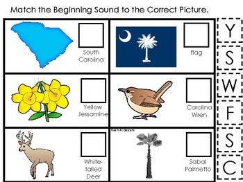 South Carolina State Symbols themed Match the Beginning Sound Preschool Game.