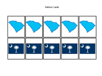 South Carolina State Symbols themed Preschool Pattern Cards and Game Board.