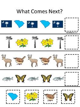 South Carolina State Symbols themed What Comes Next Preschool Math Game.