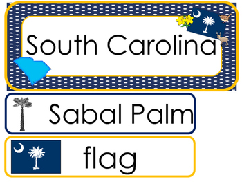 South Carolina State Word Wall Bulletin Board Set. Geography Curriculum.