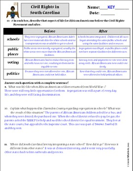 South Carolina - The Civil Rights Movement Assessments & Vocabulary 3-5.5