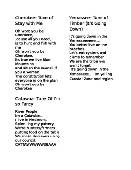 South Carolina Tribe Songs