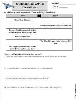 South Carolina - World War 2 & The Cold War Assessments & Vocab 3-5.4