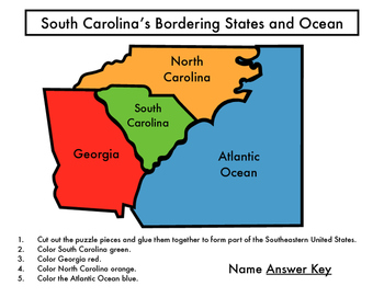 South Carolina's Bordering States and Ocean Puzzle Activity