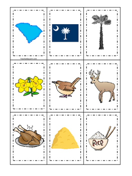 South Carolina themed Memory Matching and Word Matching preschool curriculum gam
