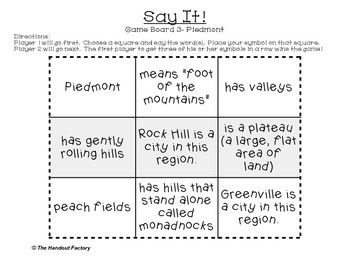 South Carolina Regions- A Tic-Tac-Toe Game