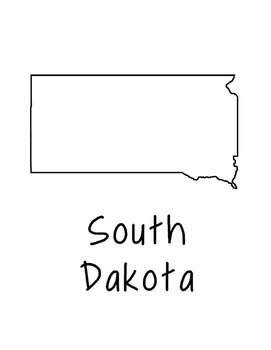 South Dakota Map Coloring Page Activity - Lots of Room for