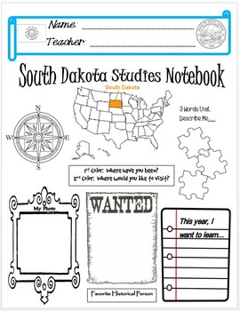South Dakota Notebook Cover