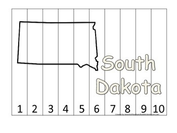 South Dakota Number Sequence Puzzle.  Learn the States preschool printable game.