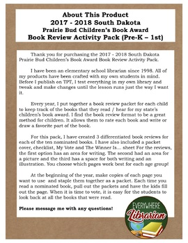 South Dakota Prairie Bud Children's Book Award 2017 - 2018 Review Pack Pre K - 1