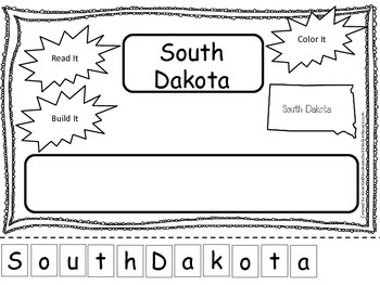 South Dakota Read it, Build it, Color it Learn the States preschool worksheet.