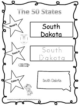 South Dakota Read it, Trace it, Color it Learn the States