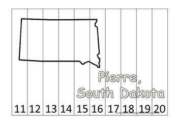 South Dakota State Capitol Number Sequence Puzzle 11-20.  Geography and Numbers.