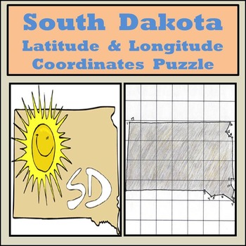 South Dakota State Latitude and Longitude Coordinates Puzzle - 17 Pts. to Plot