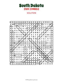 South Dakota State Symbols Word Search Puzzle