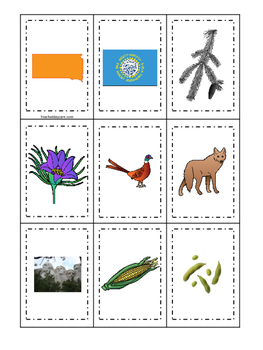 South Dakota themed Memory Matching and Word Matching preschool curriculum game