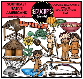 South East Native Americans Clip Art Bundle {Educlips Clipart}