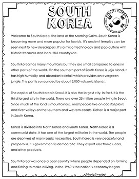 South Korea Country Study- Informational Text PowerPoint, Brochure, Google Maps™