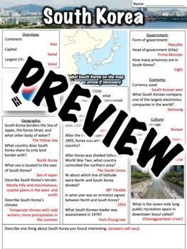 South Korea Worksheet