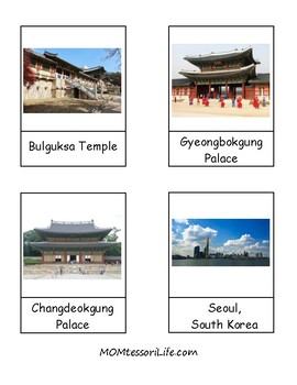 South Korean Landmarks 3-Part Cards