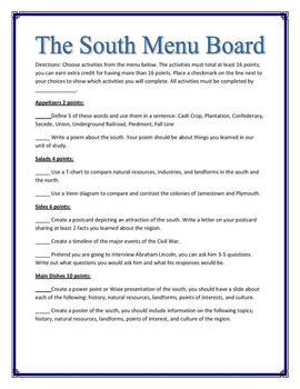 South Menu Choice Board