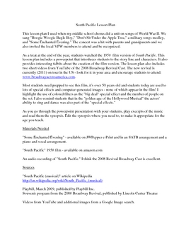 South Pacific Lesson Plan