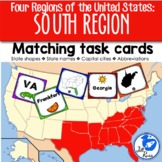 South Region States and Capitals Task Cards {Four Regions of the United States}