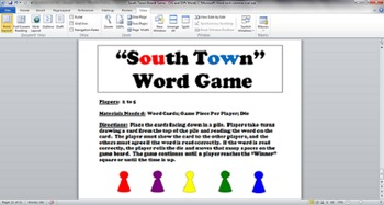 South Town Board Game - OU and OW Words