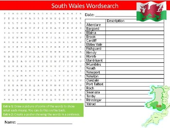 South Wales Wordsearch Sheet Starter Activity Keywords British Geography