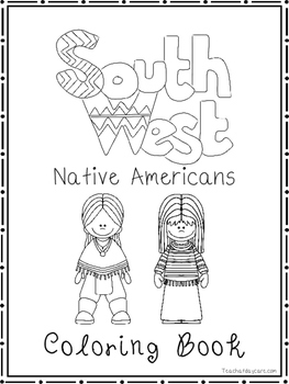 South West Native Americans Coloring Book worksheets.  Preschool-2nd Grade